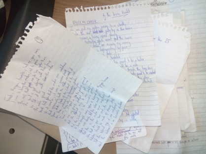 Messed up handwriting and some pieces written in IT class, others in B.A classes. :)